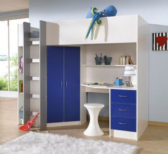 CAMBRIDGE HIGH SLEEPER BED - WHITE with BLUE or PINK