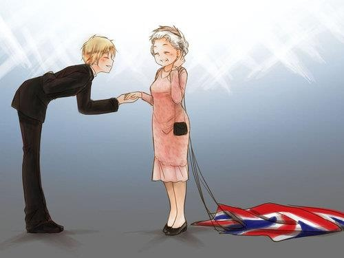 Hetalia England and his lovely queen (when she parachuted off a plane for the Olympics) Adorable!! >>> wow this art is awesome