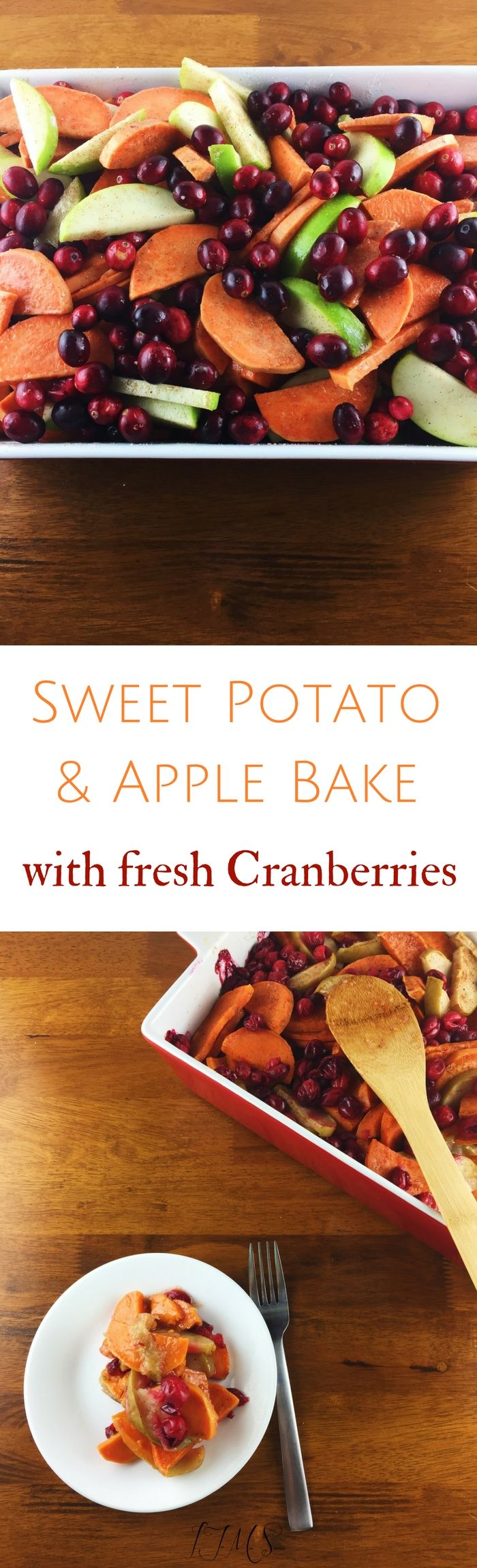 This Sweet Potato and Apple Bake with fresh cranberries is a thing of beauty. I think it screams everything fall and is a beautiful dish to present