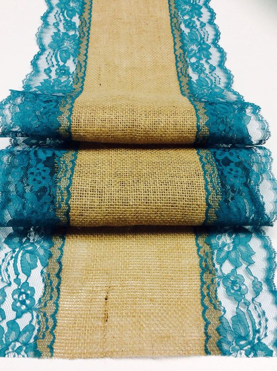 12ft20ft Burlap Table Lace Runner  with by LovelyLaceDesigns, $33.50