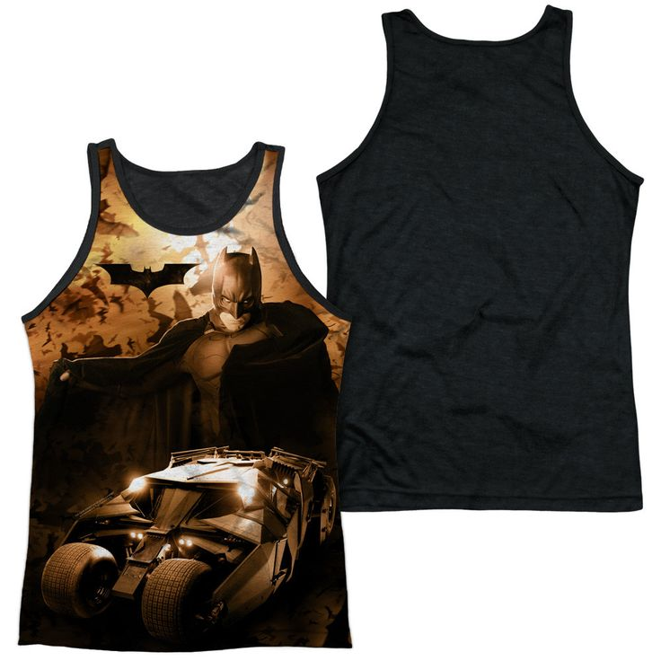 BATMAN BEGINS/BATSMOBILE-ADULT POLY TANK TOP BLACK BACK-WHITE-SM