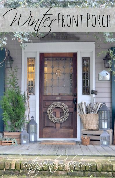 Winter Cottage Front Porch from Cottage in The Oaks. Some great ideas for transitioning from Christmas to a winter January porch!
