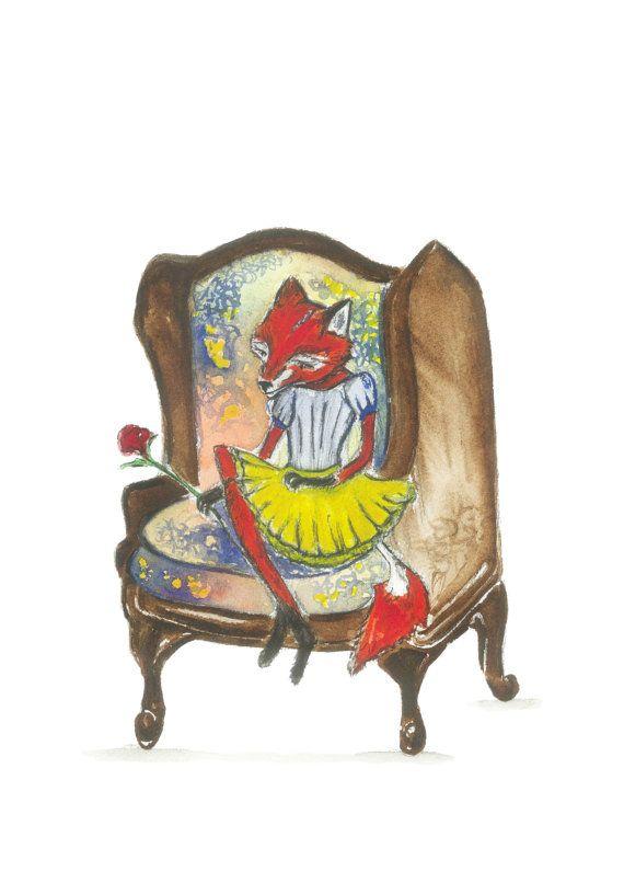 a4 fine art fox print fox painting fox art by jessicasarahdesign