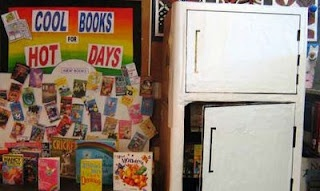 I LOVE this refrigerator display idea!!! Amy, gotta think of how we can pull this off!: Cool Book For Hot Day 1 Jpg, Libraries Ideas, Book Display, Display Bulletin, Creative Ideas, Displaysbulletin Boards, Libraries Display, Display Ideas, Boards Ideas