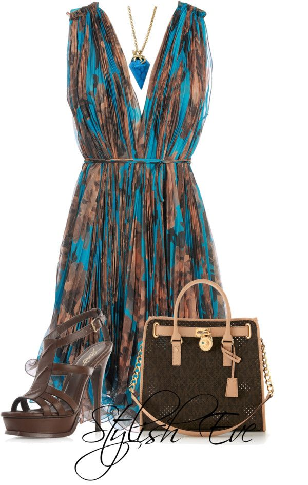"""""""NADA"""" Teal & Brown // by stylisheve ❤ on Polyvore"""