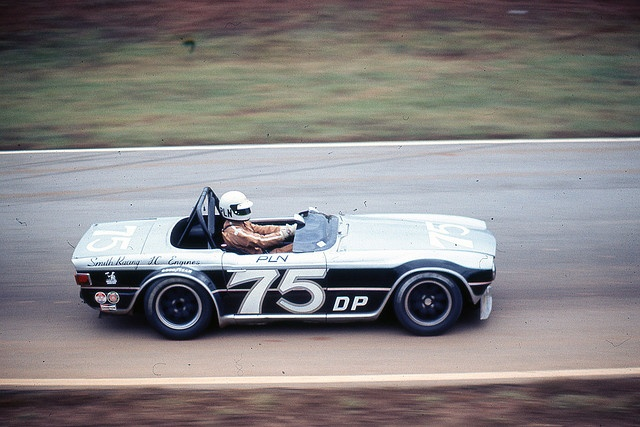 Paul Newman in his TR6 - 1976.  Sexy car!!!