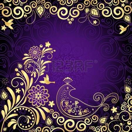 Vintage violet frame with gold flowers and stylized birds(vector) photo