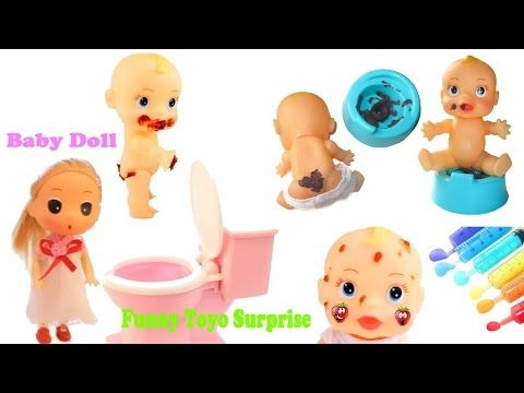 Baby Doll Compilation Alive Bath Slime Toys Eating Potty Poops Learn Rainbow Numbers Injection - YouTube