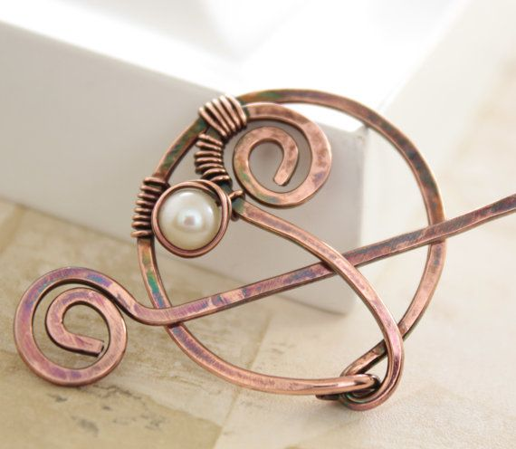 Penannular swirl copper shawl pin or scarf pin with by IngoDesign, $26.00