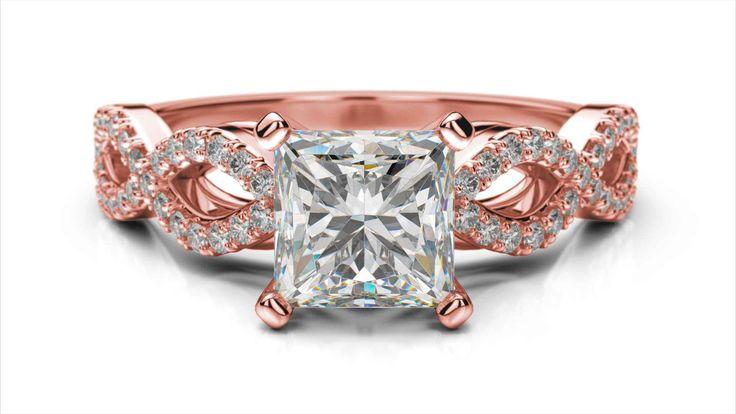 Zlatý zásnubný prsteň TALA z ružového zlata 14 karátové briliant princezná solitaire s postrannými diamantmi