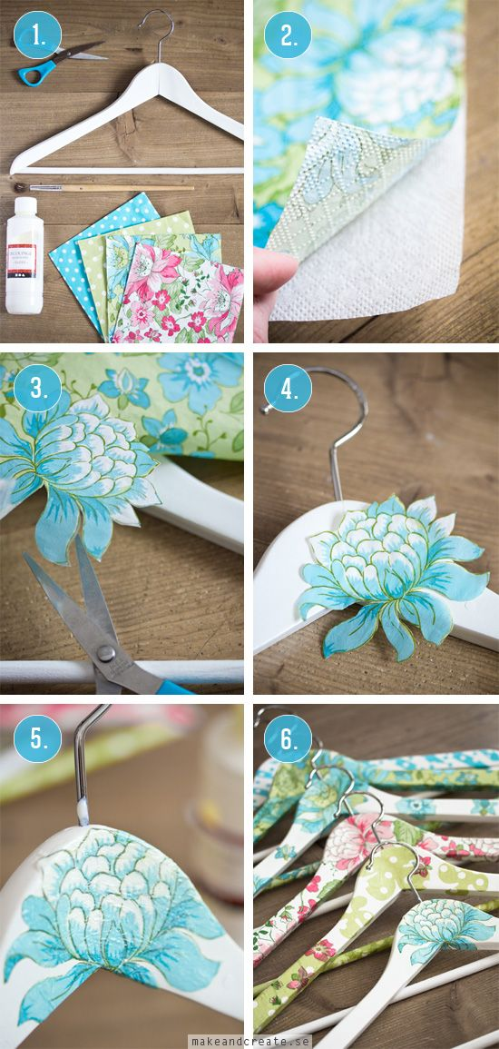 Decoupage, paper napkins, and wooden hangars-DIY - Make & Create