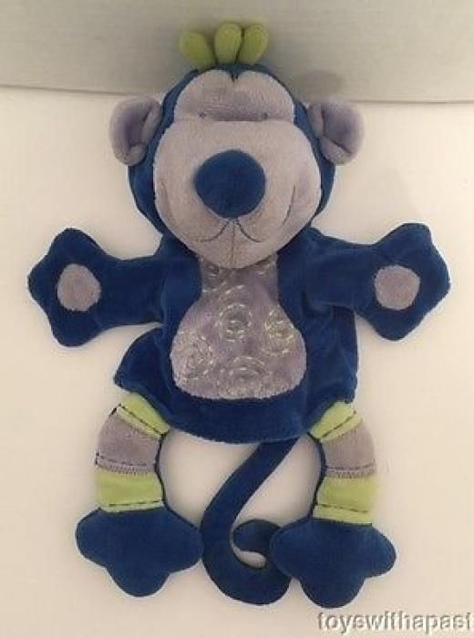 "Manhattan Toy Monkey Hand Puppet Blue Purple Green 2005 Plush 10"" Stuffed Animal Boys & Girls"