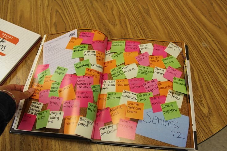Perfect way to get loads of yearbook comments onto one spread - ask everyone to write on a sticky note! #yearbookideas