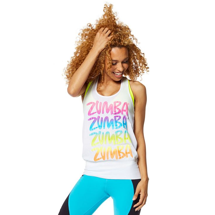ZUMBA HAPPY BUBBLE TANK - WEAR IT OUT WHITE ------------------ Let the sunshine in with the Zumba Happy Bubble Tank. With a sassy bubble silhouette and fun multicoloured front graphic, this top dares you to stare!