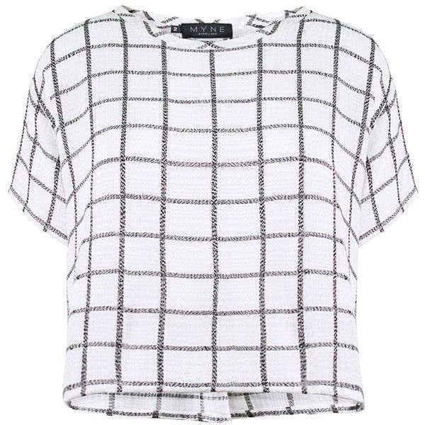 Myne - Silver elliot plaid shirt (440 PEN) ❤ liked on Polyvore featuring tops, shirts, crop tops, t-shirts, plaid shirt, crop shirts, checkered top, silver top and tartan crop top