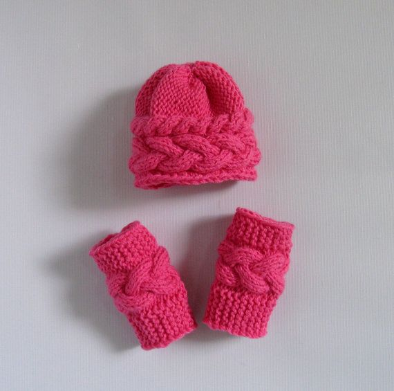 Knit Hat Bonnet & Leg Warmers Newborn Hat Elf Hat by recyclingroom