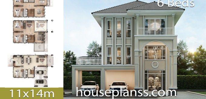 House Plans Idea 11x14 With 6 Bedrooms House Plans 3d Bedroom House Plans Model House Plan Dream House Plans