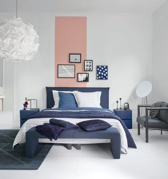 cr er une tete de lit en peinture 20 inspirations canons mur de cadres tete de et bande. Black Bedroom Furniture Sets. Home Design Ideas