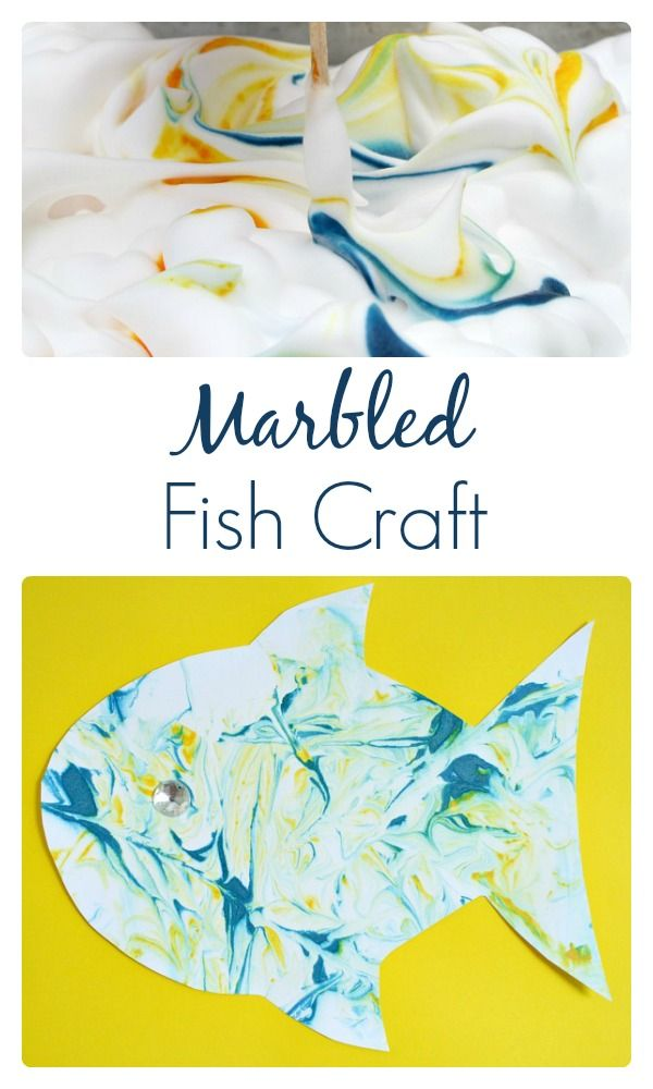 Marbled Fish Craft, super fun activity and your kids will have a blast playing with shaving cream! @Shaunna @ Fantastic Fun and Learning
