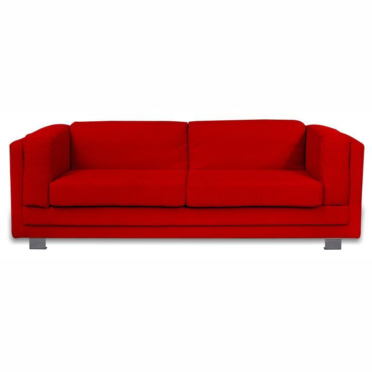 Canapé 3 places fixe Suede - Rouge prix promo La Maison de Valerie 449,99 € TTC au lieu de 648,99 €