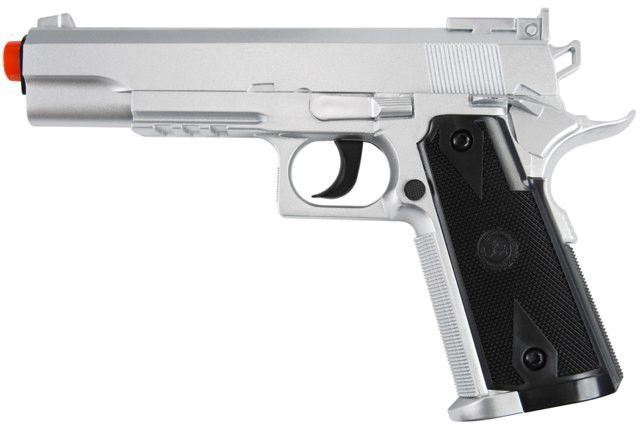 TSD Sports SD1911 CO2 Non-Blow Back Pistol - Silver - TSD SPORTS M1911 Special Forces CO2 non-blowback, includes pistol case, heavy weight, 370-400fps with .20g BB, 120+BB per 12gram CO2 cartridge, functional safety, stick magazine holds 15 BBs, silver finish with orange tip barrel. Legal Disclaimer Restrictions: You must be 18 or older to order this product. In some areas, state and local laws further restrict or prohibit the sale and possession of this product. In ordering this product…