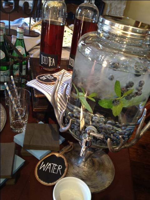 Water with blueberries and fresh mint works well with our woodsy themed baby shower in blues and browns  www.tameraeventdesign.com