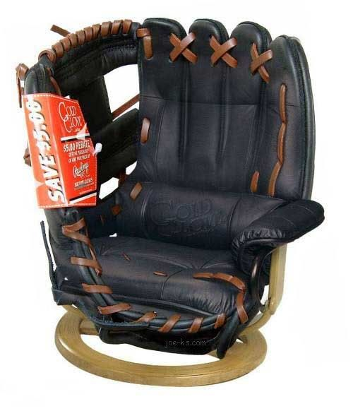 Baseball glove chair... WHY DO I NOT HAVE THIS?!