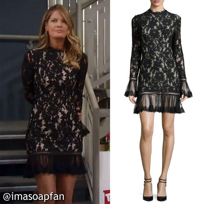 Nina Reeves's Black Lace Dress - General Hospital, Michelle Stafford, #GH #GeneralHospital Fashion http://imasoapfan.blogspot.com/2016/12/nina-reevess-black-lace-dress-general-hospital.html