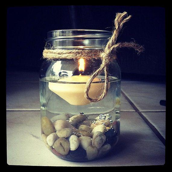 Pebble. Floating. Candle. Mason. Jar. Twine.