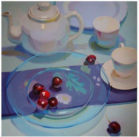 glass, blue, pastel, colorful, bright, sunny, food, white, still life, contemporary, fresh 30sq