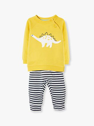 802034e9e9f6b2 John Lewis & Partners Baby GOTS Organic Cotton Dino Stripe Top and Joggers  Set, Yellow/Multi