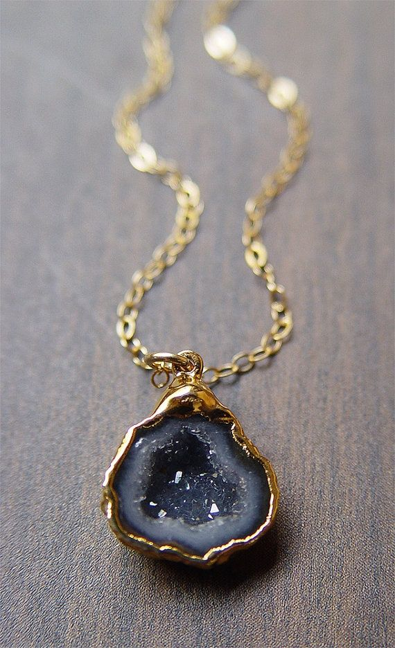 Black Geode Druzy Necklace by friedasophie https://www.etsy.com/shop/friedasophie
