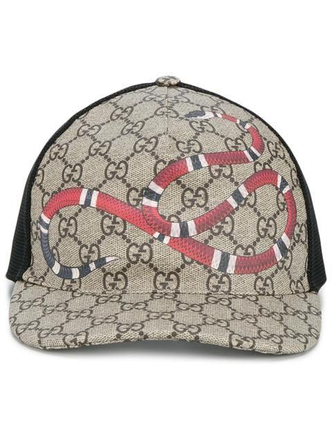 Gucci snake print GG supreme baseball cap