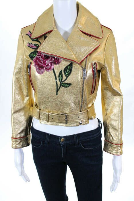 9b231cb81 eBay #Sponsored Gucci Gold Red Leather Piped Embroidered Sequin Jacket Size  36 Italian New $5200