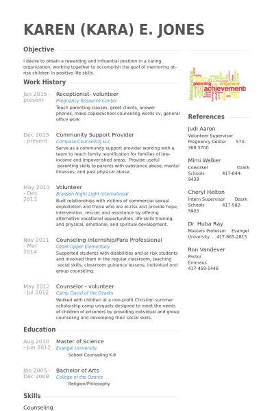 receptionist- volunteer Resume Example CV Styles Pinterest