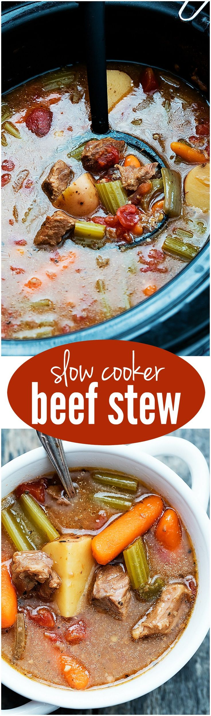 This Slow Cooker Beef Stew is easy and full of beef and veggies and perfect for the cold weather!
