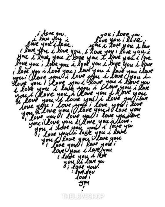 I LOVE YOU - Deluxe 8x10 inch print -- handwritten with love. $20.00, via Etsy.: