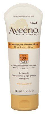 Aveeno Sun Continuous Protection SPF 100 - 3 oz. by Aveeno. $13.99. With Active Naturals. Fast-absorbing, non-greasy. Best UVA/UVB protection with Active Naturals. Lightweight. Waterproof. Aveeno Continuous Protection Sunblock Lotion for the face with SPF 100+ is formulated to provide superior, long-lasting protection against skin damage caused by the sun. This exclusive formula, which combines Active Photobarrier Complex(tm) to maintain broad spectrum sun prot...