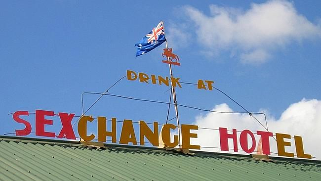 Only in Australia. The Sexchange Hotel in Coen, Queensland Legend has it that it was 1976 when the Exchange Hotel in the small Cape York town of Coen was renamed and became a joke of the state's north. A GROUP of drunk plumbers armed with the letter S turned an outback Queensland pub into the Sexchange hotel.