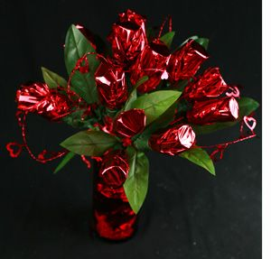 Man flowers....made out of mini bottles of liquor :)