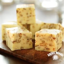 Creamy White Fudge from Eagle Brand Add cookies ... 1 can milk 1 and 1 half pounds white chocolate chips... add oreos