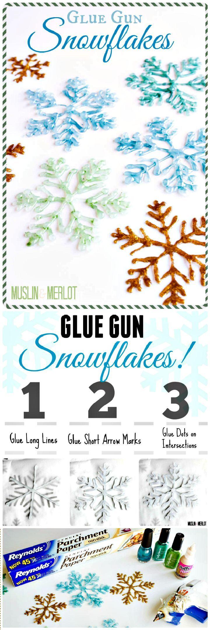 DIY Make Glue Gun Snowflakes - 25 Genius DIY Glue Gun Crafts To Make Creative Things - I Heart Crafty