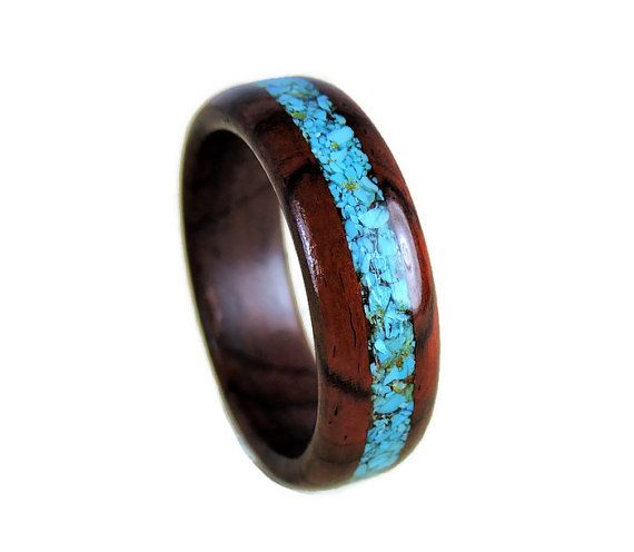 Wood Ring Wedding Turquoise Cocobolo And Mens Womens Anniversary Promise