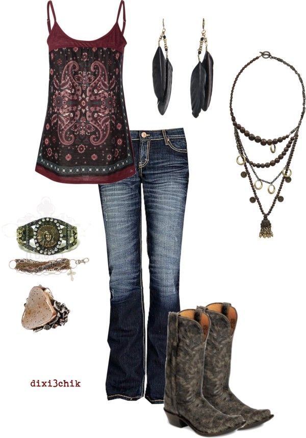 western - especially love the boots, and the necklace is unique.