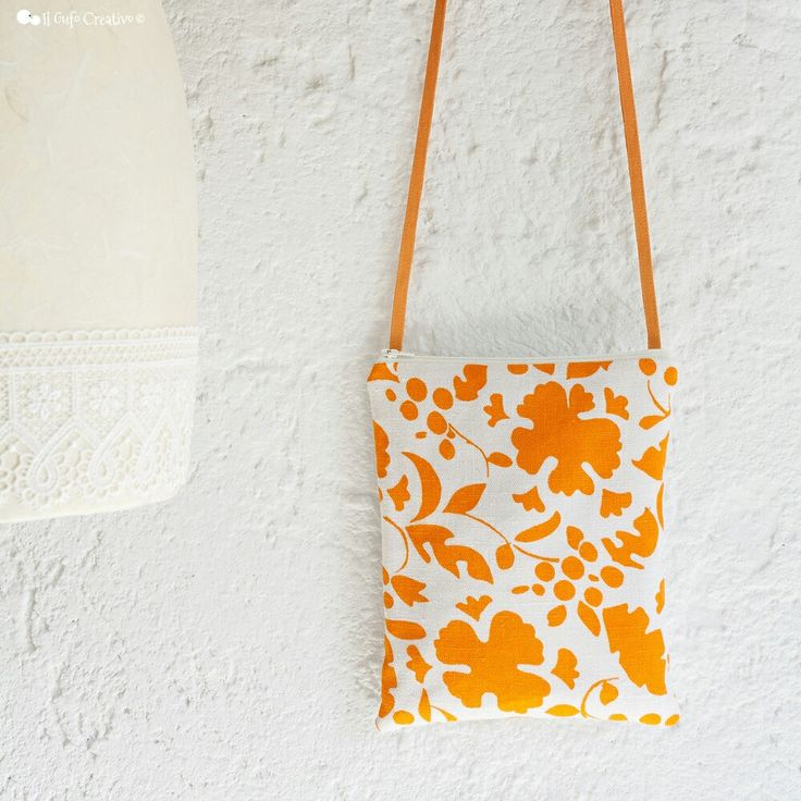 Orange flowers small crossbody bag