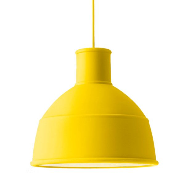Unfold lamp, yellow - am thinking this would be good for the mud room.  Like the idea of a rubber 'industrial' light... or black... ?
