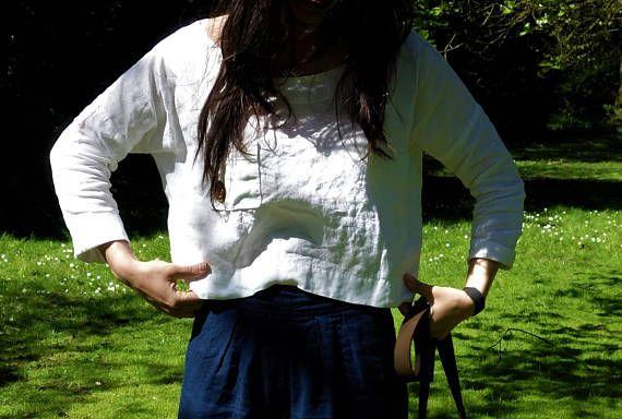 Loose Linen Top Handmade Blouse Natural Fabric Woman