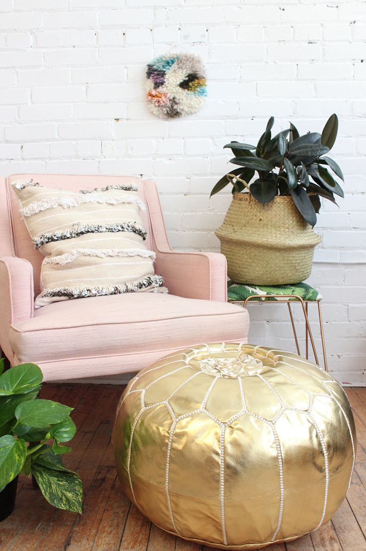 living room poufs%0A Gold Pouf  Moroccan Footstool  Faux Leather  Vegan