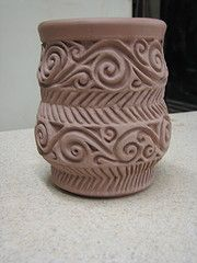vase, earthenware, thrown, carved, altered greenware....check back later to see the glazed and fired version |Pinned from PinTo for iPad|