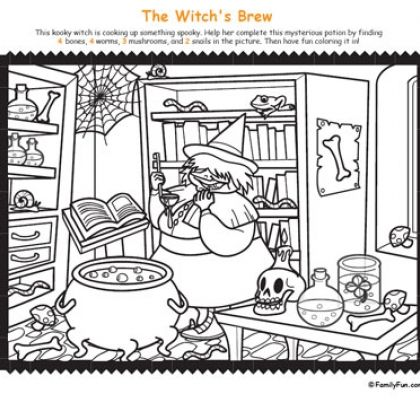 Hidden Picture & Coloring Page: Witch's Brew